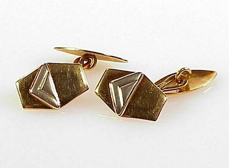 Art Deco Style 18K Yellow/White Gold Double Cufflinks