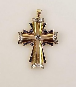 Deco 18K Gold Platinum Diamond Sapphire Cross Pendant