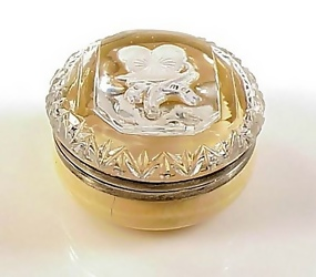 Victorian Ivory & Silver Sulphide Paperweight Pansy Box