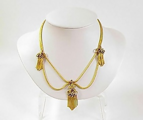 French Victorian 18K Gold Foxtail Necklace