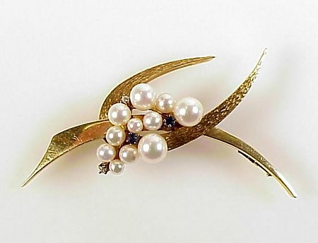Modernist 14K Gold, Pearl, Diamond & Sapphire Brooch