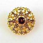 Victorian 10K Gold Amethyst & Seed Pearl Starburst Pin