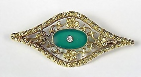 Gold, Chrysoprase & White Sapphire Brooch