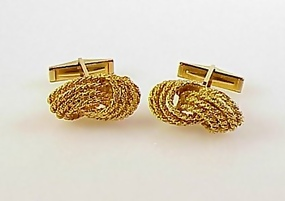 Vintage 18K Yellow Gold Ropetwist Knot Cufflinks
