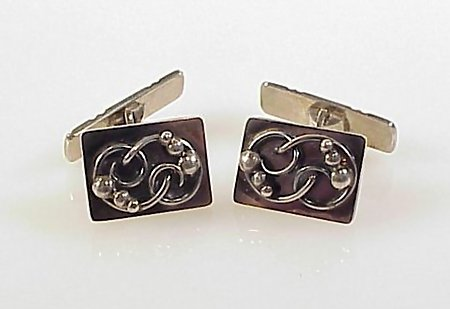 Art Deco Scandinavian Sterling Silver Cufflinks