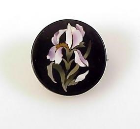 Italian Victorian Pietra-Dura Mosaic Iris Brooch