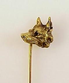 Victorian French 18K Gold German Shepherd Dog Stick Pin