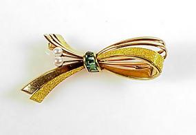 Retro 14K Tri-Color Gold, Tourmaline & Pearl Brooch