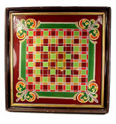 Victorian Reverse Painting on Glass Checker Game Board