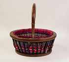 Victorian Silk-Lined Maple Ebonized Wood Sewing Basket