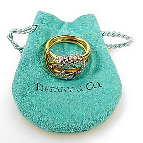 Tiffany Schlumberger 18K Platinum Diamond LEAVES Ring