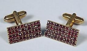Czech Silver Gilt & Pyrope Garnet Cufflinks