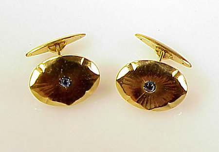 14K Gold & Cabochon Sapphire Cufflinks