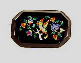 Victorian 14K Gold & Glass Pietra Dura Brooch