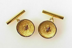 Vintage 18K Yellow Gold Button-Style Cufflinks