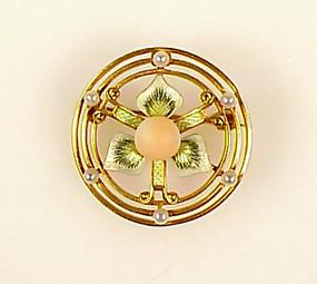 Newark Art Nouveau 14K Gold Enamel Coral Pearl Brooch
