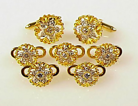 Signed DIF 18K Yellow & White Gold & Diamond Dress Set
