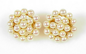 French 18K Gold Pearl Cluster Earrings
