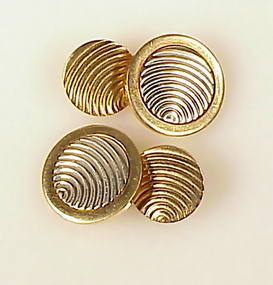 Avedon Art Deco 14K Yellow & White Gold Cufflinks