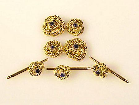 18K Yellow Gold & Sapphire Knot Dress Set
