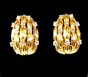 Tiffany & Co. 18K Gold & Diamond Clip Earrings