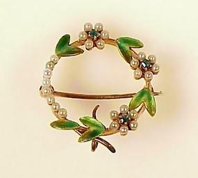 Victorian 14K Enamel Peal Emerald Floral Circle Brooch
