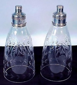 Sterling Silver & Etched Glass Candle Shades