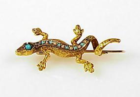 Napoleon III 18K Gold Pearl Turquoise Salamander Brooch