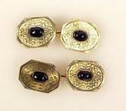 Edwardian 14K Yellow Gold & Sapphire Cufflinks