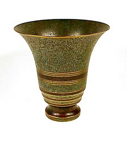 Carl Sorensen Art Deco Patinated Bronze Trumpet Vase