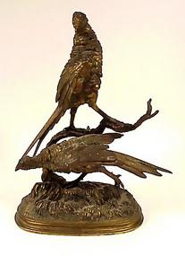 Ferdinand Pautrot Bronze Pheasant Animalier Sculpture