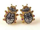 Eva Segoura 18K Gold, Hematite & Ruby Ladybug Earrings