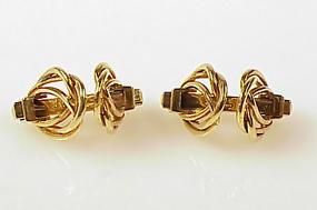 French 18K Gold Mechanical Stirrup Cufflinks