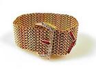 Retro 18K Platinum Diamond Ruby Mesh Buckle Bracelet