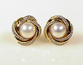 Mikimoto 18K Gold, Diamond & Mabe Pearl Earrings