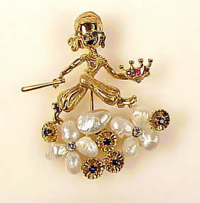 Ruser 14K Pearl Diamond Pittsburgh Pirates Baseball Pin