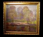 American Impressionist Woodland Pond Oil On Canvas