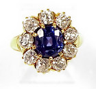 Tiffany 18K Gold Burmese Blue Sapphire Diamond Ring