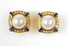 Signed SPARK 18K Gold Pearl Diamond Sapphire Earrings