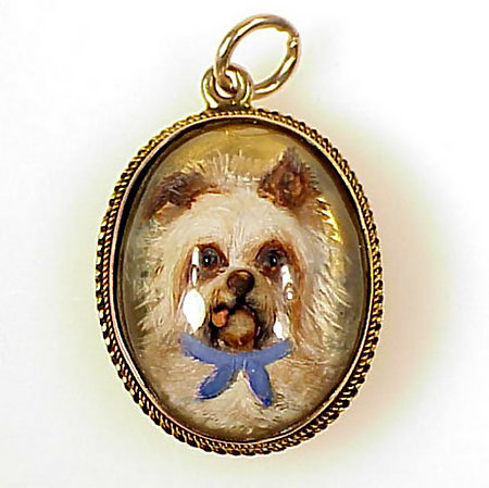 Victorian 12K Essex Crystal Yorkshire Terrier Pendant