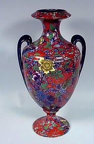 Cauldon Chintz Pottery 2-Handled Urn Vase