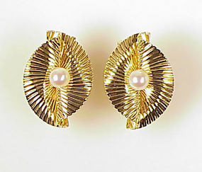 Retro Tiffany & Co. 14K Gold & Pearl Pleated Earrings