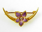 Larter Art Nouveau 14K Enamel Diamond Honeymoon Brooch