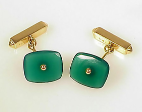Art Deco 14K Yellow Gold & Chrysoprase Cufflinks