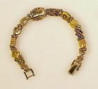 Victorian 14K 10K Opal Diamond Turquoise Slide Bracelet