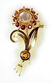 Retro 14K Gold Moonstone Rhodolite Citrine Flower Pin