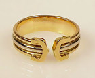 Cartier 18K Yellow Rose White Gold DOUBLE C Ring