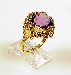 Edward Oakes Arts & Crafts 14K Gold Amethyst Ring