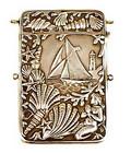Victorian Silverplate Mermaid & Sailing Ship Card Case