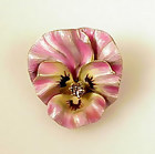 Whiteside & Blank 14K Gold Enamel Diamond Pansy Pin